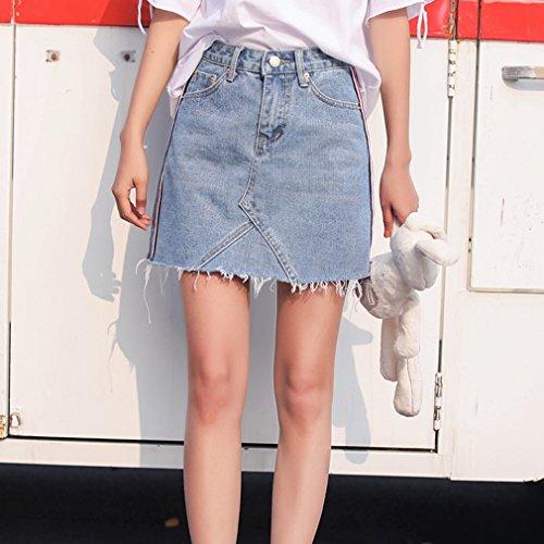Denim Mini Jupe t Printemps Slim 1 Crayon en Jupe Taille Jupe Mode Courte Bleu Casual Haute Fit Femme de Streetwear vOf0qgwO