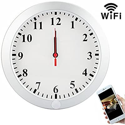 CAMXSW 1080P Wifi Pinhole Hidden Wall Clock Camera Clock Spy Camera / Nanny Cam / Home Security Camera Support Android IOS Smartphone Remote Control WIfi Live View from CAMXSW