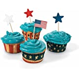 Fun Express Fourth of July Patriotic Red, White and Blue Baking Cups w/ Star Picks - 100 PIeces