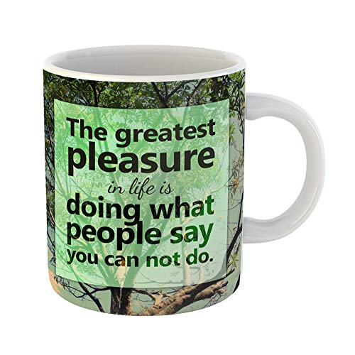 Emvency Coffee Tea Mug Gift 11 Ounces Funny Ceramic Achievement Inspirational Quote on Blurred Adventure Gifts For Family Friends Coworkers Boss Mug -