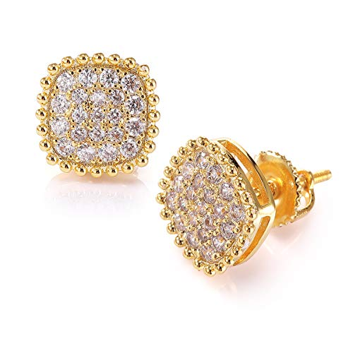 Gold Earrings For Men And Ladies With Screw Back Hip Hop Earrings Men Gold Plated With Cubic Zircon Square by LEOPARD