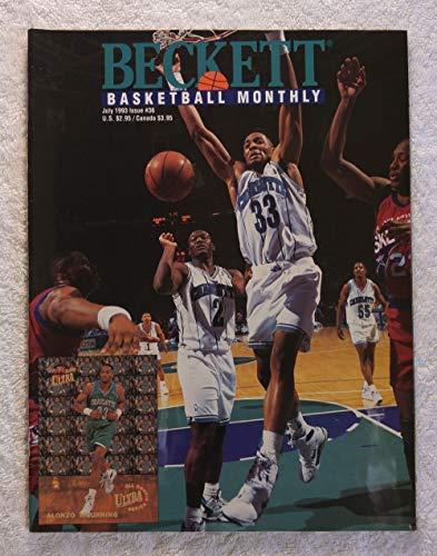 Alonzo Mourning - Charlotte Hornets - Beckett Basketball Monthly Magazine - #36 - July 1993 - Back Cover: Robert Horry (Houston Rockets)