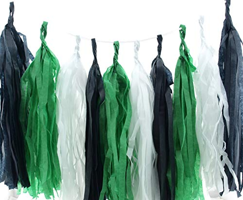 (Soccer Garland, Black, Green & White Summer Party Tassels (Set of 15) - Soccer Party Supplies, Sporty Tissue Paper Tassel, Spring Birthday Party Decorations Banner Backdrop)