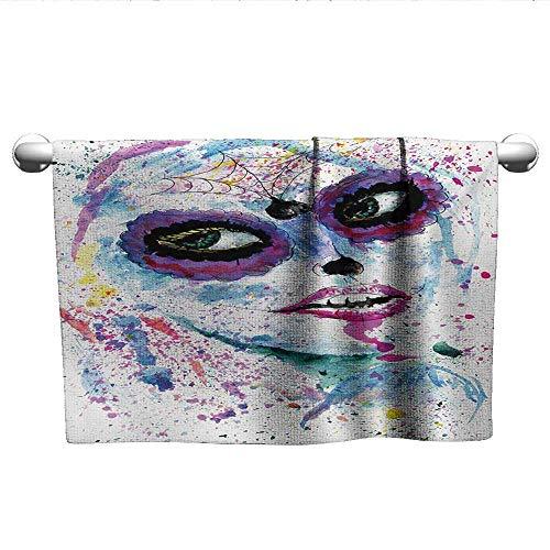 alisoso Girls,Kids Bath Towels Grunge Halloween Lady with Sugar Skull Make Up Creepy Dead Face Gothic Woman Artsy Decorative Towels Blue Purple W 10