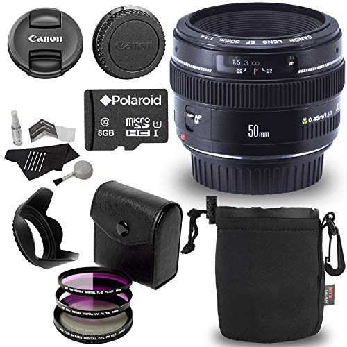 Canon EF 50mm f/1.4 USM Standard & Medium Telephoto Lens + 58mm 3 Piece Filter Kit Set (UV, CPL, FLD) + Ritz Gear Protective Pouch + 8GB Memory and Deluxe Polaroid Accessory Bundle