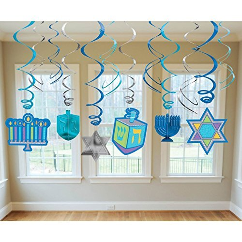 Hanukkah Icon Hanging Decoration, 12pc -
