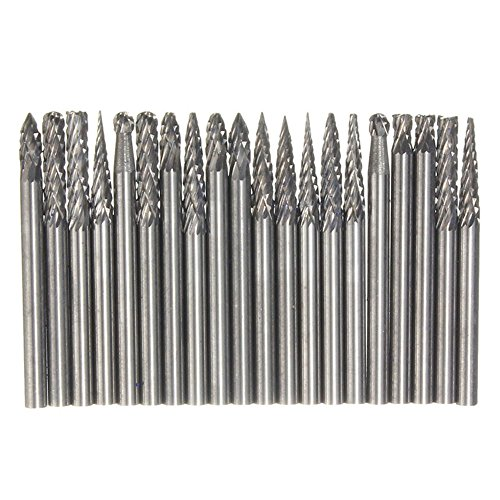 Yakamoz 20 Pieces Tungsten Carbide Double Cut Rotary Burr Set with 3 mm (1/8 Inch) Shank and 3 mm (1/8 Inch) Head Size by Yakamoz (Image #7)