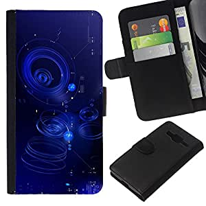 WINCASE Cuadro Funda Voltear Cuero Ranura Tarjetas TPU Carcasas Protectora Cover Case Para Samsung Galaxy Core Prime - agua azul ondulación charco abstracta