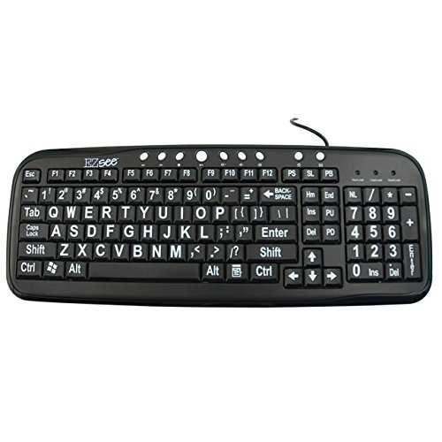 EZ See Large Print Keyboard-Black Keys-White Print ()