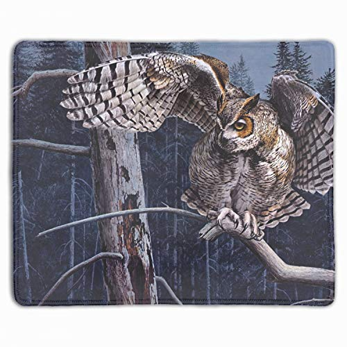 (Guy Coheleach Owl Forest Tree Branch Art Mouse Pad Non-Slip Rubber Base Mousepad for Laptop, Computer & PC )