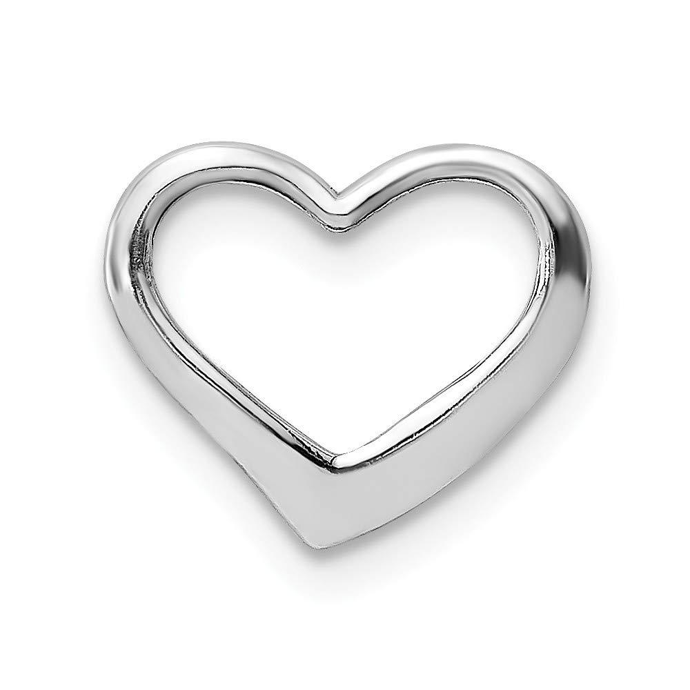 14K White Gold 2-D Floating Heart Small Charm Pendant