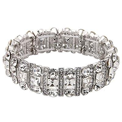 EVER FAITH Austrian Crystal Art Deco Three Layers Bride Elastic Stretch Bracelet