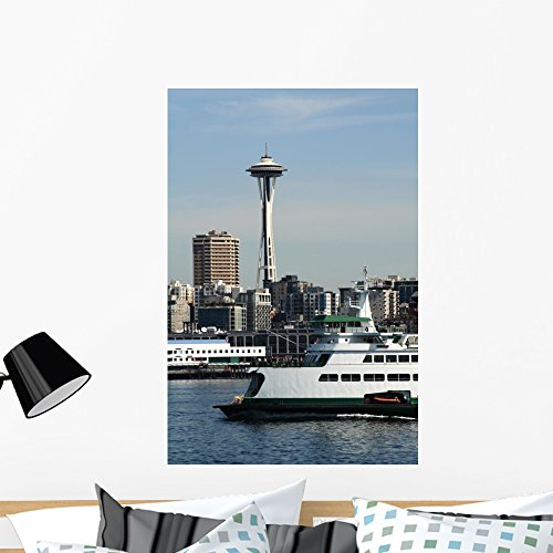 Wallmonkeys Seattle Ferry Wall Decal Peel and Stick Graphic WM89334 (36 in H x 24 in W)