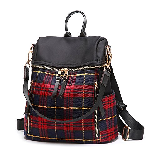 Patchwork Front Pocket Satchel - Mn&Sue Dual Use Red Tartan Backpack Purse for Women Schoolbag Casual Daypack Rucksack