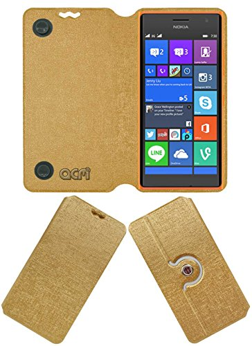 Acm Designer Rotating Flip Flap Case Compatible with Nokia Lumia 730 Mobile Stand Cover Golden