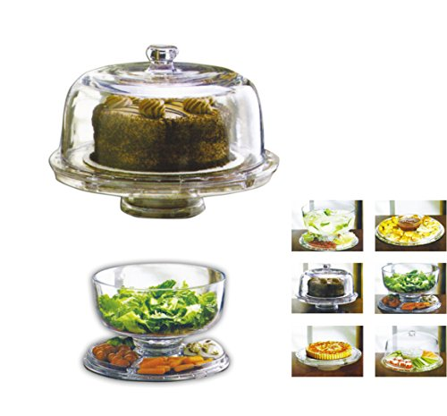 Estilo Multifunctional Cake and Serving Stand, Clear (Glass Dome Cupcake Stand)