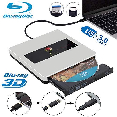 External Bluray Drive 3D NOLYTH USB C External Blu Ray Drive Player Burner for MacBook Pro/Air/Mac/Laptop/Windows10