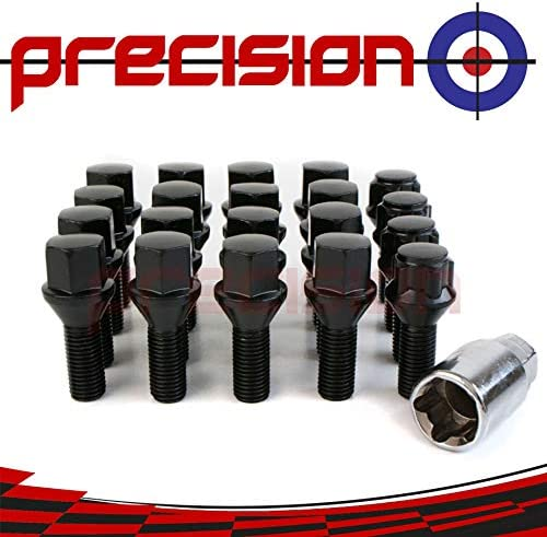 Precision 16 x Black Chrome Wheel Bolts Set with 4 x Locking Nuts for ŔENAULT Scenic with Genuine /& Aftermarket Alloy Wheels PN.SFP-16BM17B+B17B172