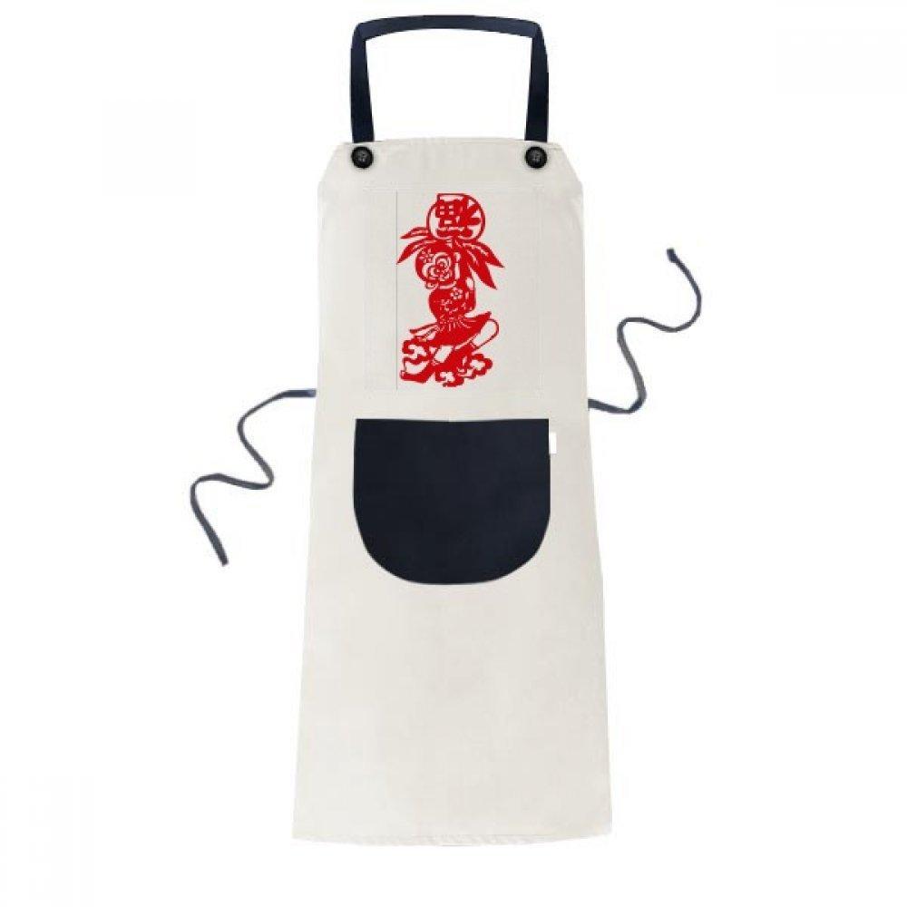 cold master DIY lab China Monkey Traditional Window Flowers Cooking Kitchen Beige Adjustable Bib Apron Pocket Women Men Chef Gift
