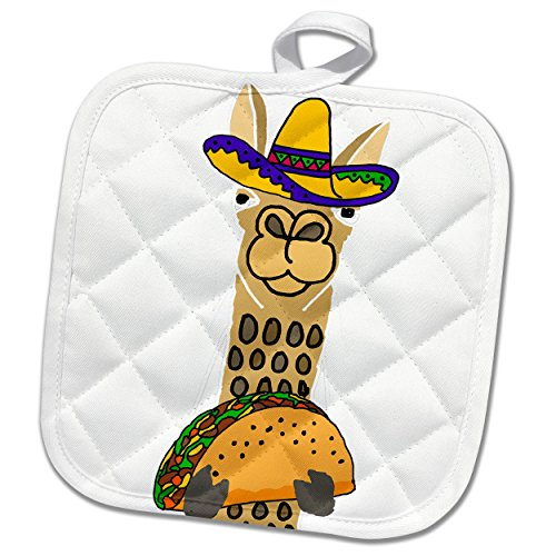 3dRose phl_263812_1 1 Pot Holder Funny Cute Llama Wearing Sombrero and Eating Taco Cartoon, 8 by 8'' by 3dRose