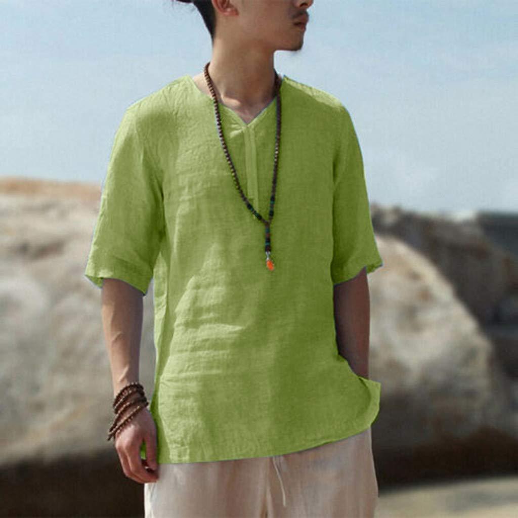 LLNONG Men Brief Breathable Comfy Cotton Linen T-Shirt Solid Color V-Neck Long Sleeve Loose Casual Plus Size Sweatshirt