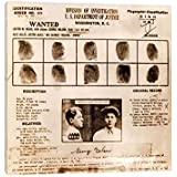 """Lester M Gillis Alias Baby Face Nelson Wanted Poster - Canvas Wall Art Gallery Wrapped Ready to Hang - Fingerprints & Criminal History Record - Canvas Wall Art Gallery Wrapped Ready to Hang - 12""""x12"""""""