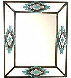 DeLeon Collections Rustic Aztec Layered Diamond Turquoise Mirror - Wrought Iron Frame - Rectangular