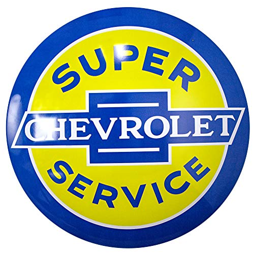 Crystal Art Licensed Chevy Super Service Hanging Metal Sign Wall Decor for Bar, Garage or Man Cave, 15