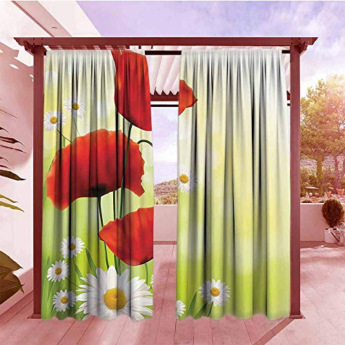 Curtains Rod Pocket Two Panels Poppy Decor Collection Poppy and Daisy Flowers with Blurred Background Decorating Natural Image Print Waterproof Patio Door Panel W84x96L Red Green White Yellow]()
