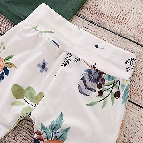 DWQuee 4 ST/ÜCKE Baby M/ädchen Kleidung Set Blumendruck R/üschen Top Hosen Kappe Stirnband Anzug