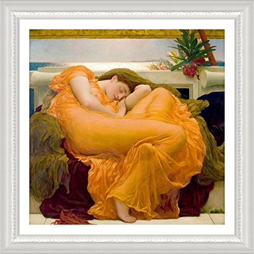 Alonline Art - Flaming June Frederic Leighton White FRAMED POSTER (Print on 100% Cotton CANVAS on foam board) - READY TO HANG | 30