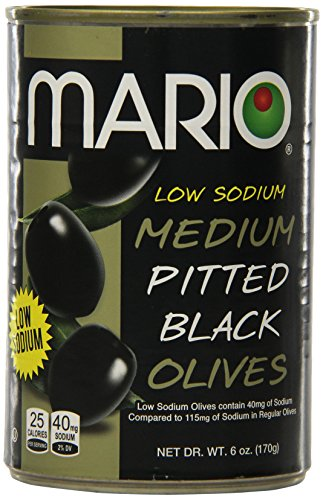 Pitted Black Olives Medium (Mario Camacho Foods Low Sodium Black Olives, Medium Pitted, 6.0 Ounce (Pack of 12))