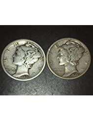 2 Mercury Dimes -- 90% Silver -- Different Dates from 1916 to 1945 Dimes VG-08 and better