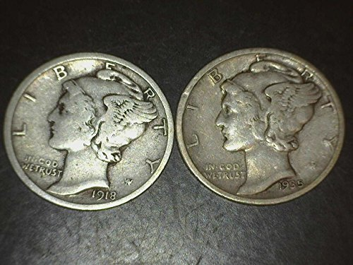 2 Mercury Dimes -- 90% Silver -- Different Dates from 1916 to 1945 Dimes VG-08 and (1897 Coin)