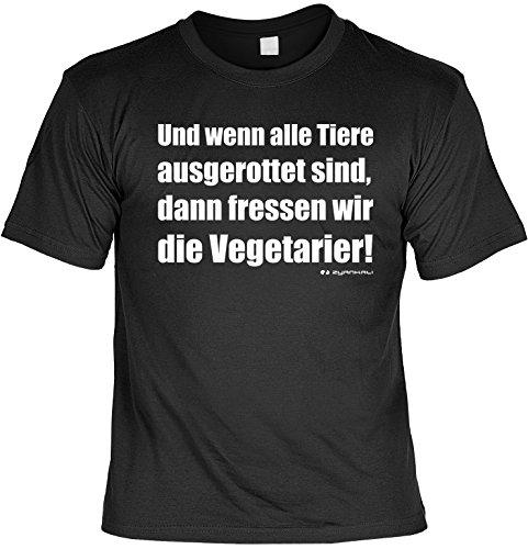 T-Shirt - Wenn alle Tiere ausgerottet sind - Geschenk Set Funshirt und Mini Shirt für Leute mit Humor