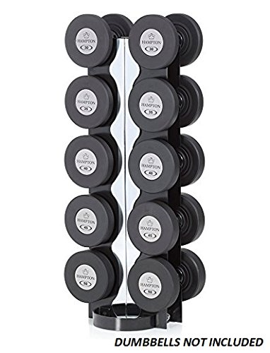 Hampton-VH-5-Two-Sided-5-Pair-Vertical-Dumbbell-Rack-Holds-Chrome-Dumbbells-Hex-Dumbbells-Pro-Style-Dumbbells-Solid-Head-Dumbbells
