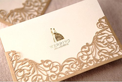 Cdwish floral laser cut wedding invitations gold paper cards kit cdwish floral laser cut wedding invitations gold paper cards kit 200 buy online in uae office product products in the uae see prices stopboris Choice Image