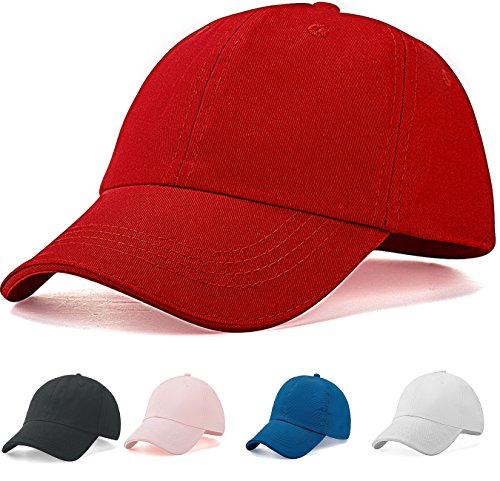 Kids Baseball Hat Boys Girls - Unshaped Unisex 4-12 years (Red) (Red Hat For Boys)