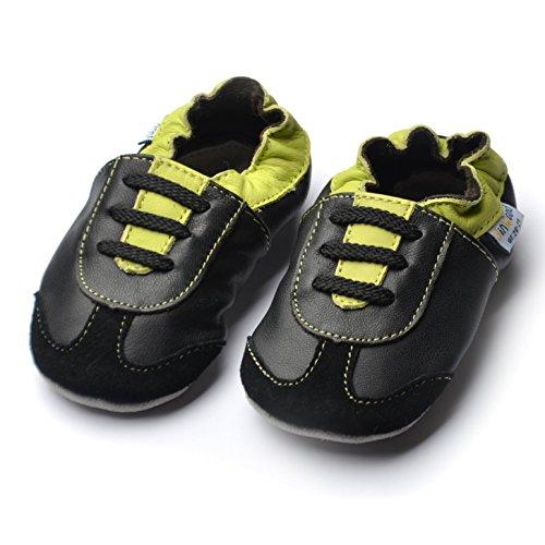 Soft Sole Garçon Green Jinwood Par Pas Premiers black Et Chaussures À nbsp;en Athletics Chaussons Cuir Véritable Douces Semelles 1faqaTw