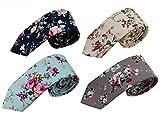 Mantieqingway Skinny Ties Men's Cotton Printed Floral Neck Tie (mix8)