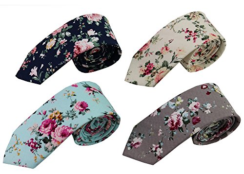 Mantieqingway Skinny Ties Men's Cotton Printed Floral Neck Tie (mix8) ()