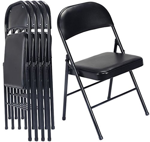 K&A Company Plastic Folding Chairs Commercial Stackable Chair Wedding Party Event Pack Quality Premium Lb Seat Back Set of 4 Black