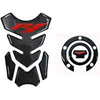 8.7 inches Real Carbon Fiber 3D Sticker Vinyl Decal Emblem Protection Gas Tank Pad & Cap Cover For YAMAHA YZF R1/R1000 2000-2015