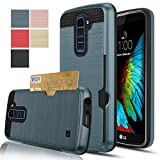 LG K10 / Premier LTE Case, [K430/K420/K410],AnoKe [Credit Card Slots Holder][Not Wallet] Hard Silicone Rubber Hybrid Armor Shockproof Protective Case Cover For LG K10 KLS Metal Slate