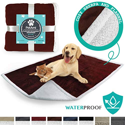 PetAmi Waterproof Dog Blanket for Couch, Sofa | Waterproof Sherpa Pet Blanket for Large Dogs, Puppies | Super Soft Washable Microfiber Fleece | Reversible Design | 50 x 40 (Brown)