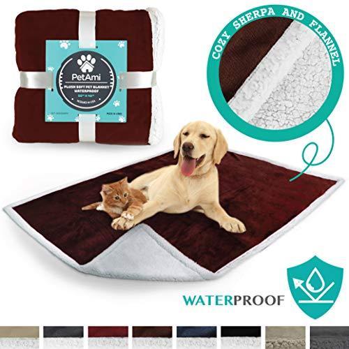 PetAmi Premium Waterproof Soft Sherpa Pet Blanket by Cozy, Comfortable, Plush, Lightweight Microfiber, 100% WATERPROOF (50 x 40, Brown)