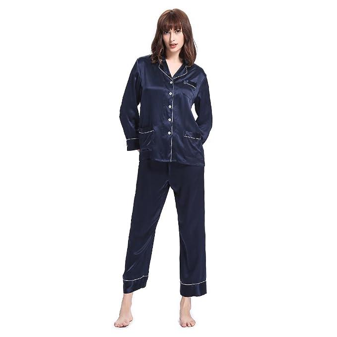 ab879b8165 LILYSILK Seide Schlafanzug Set 3 Teilig Damen Pyjama mit Weißem Besatz  Nachtwäsche Kurz/Lang von 22 Momme: Amazon.de: Bekleidung