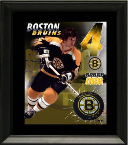 - Bobby Orr Signed Puck with Print - Boston Bruins - Autographed NHL Pucks