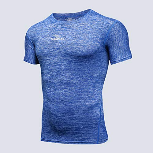 Allywit-Mens New Fitness Training Clothes Short Sleeve Blouse Outdoor Sports Muscle Blouse Top Blue by Allywit-Mens (Image #1)