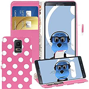 Pink White Polka Dots Samsung Galaxy Note 4 SM-N910S Case Durable PU Leather Book Style Wallet Cover with Credit / Business Card Holder and Horizontal Viewing Stand